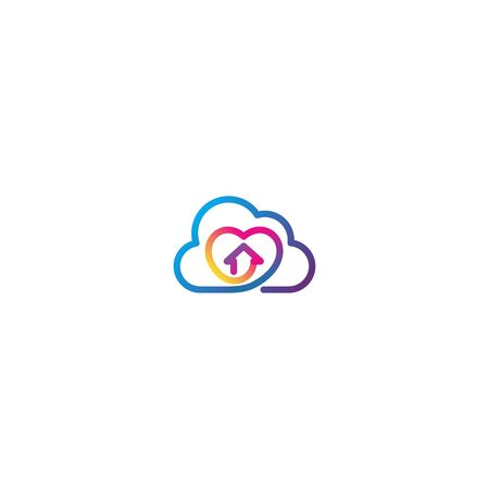 Home and love cloud logo design vector