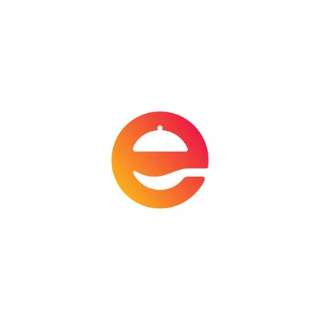 e restaurant logo design template vector
