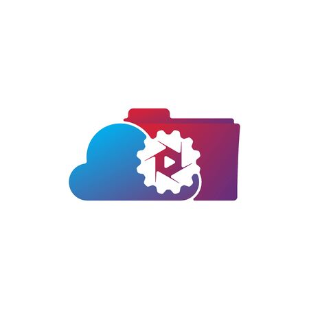 Media cloud lens gear logo design vector