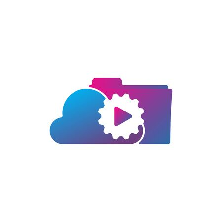 Media cloud gear logo design vector