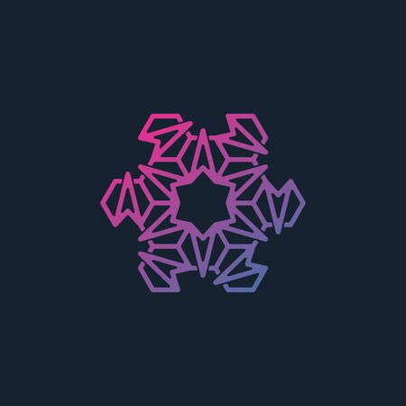 Line art combination of arrow and hexagonal icon design vector unique colorful
