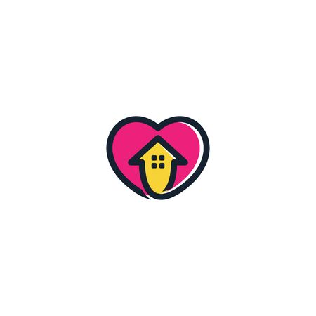 Combination of home and love logo design vectors modern