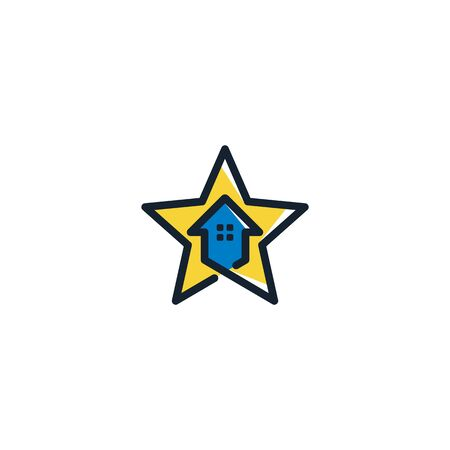Combination of home and star logo design vector unique Illusztráció