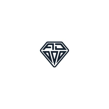 Combination of initial letter AD and diamond logo design vector