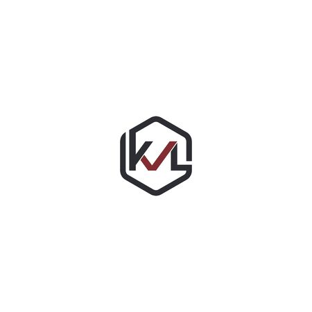 Combination of initial letter KVL and checklist logo design unique hexagonal