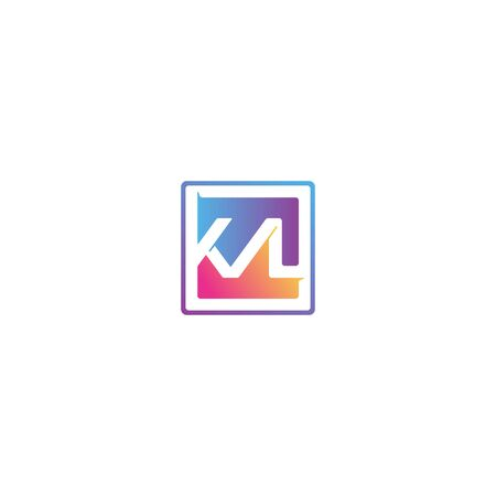 Combination of initial letter KVL and checklist logo design colorful