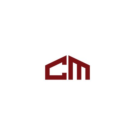 Initial CM logo design template for building
