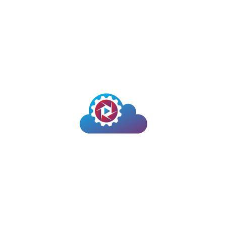 Combination of cloud + lens and gear logo design vector