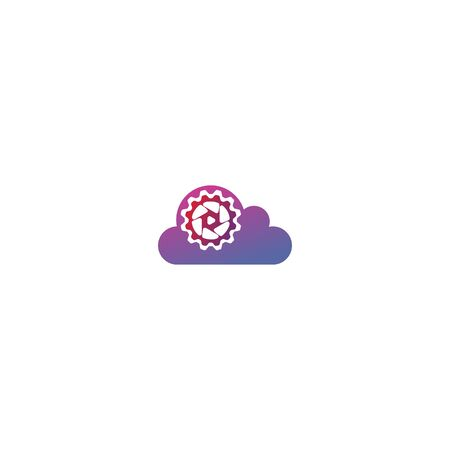 Combination of cloud + lens and gear logo design vector