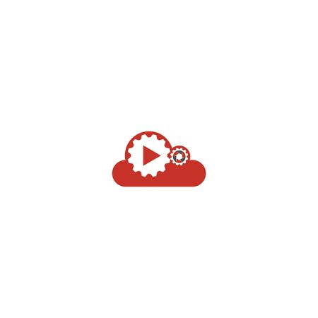 Combination of cloud and gear logo design vector