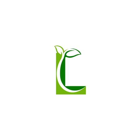 Combination of green leaf and initial letters L logo design vectors