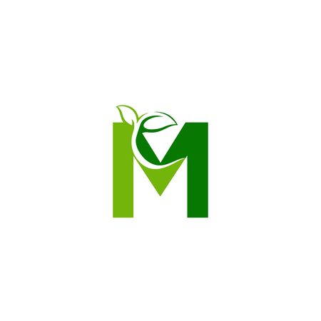 Combination of green leaf and initial letters M logo design vectors