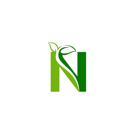Combination of green leaf and initial letters N logo design vectors
