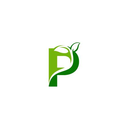 Combination of green leaf and initial letters P logo design vectors