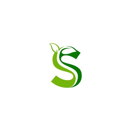 Combination of green leaf and initial letters S logo design vectors
