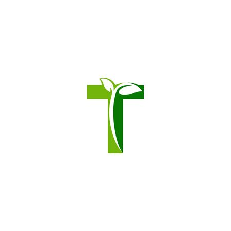 Combination of green leaf and initial letters T logo design vectors
