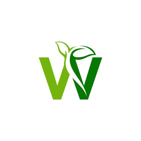 Combination of green leaf and initial letters W logo design vectors