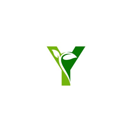 Combination of green leaf and initial letters Y logo design vectors