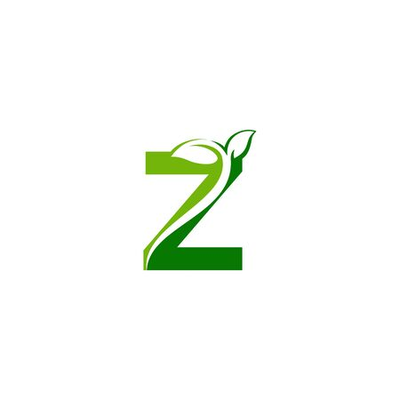 Combination of green leaf and initial letters Z logo design vectors