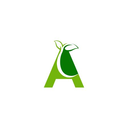 Combination of green leaf and initial letters A logo design vectors