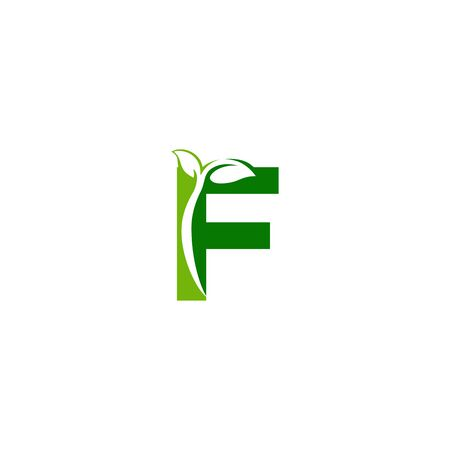 Combination of green leaf and initial letters F logo design vectors