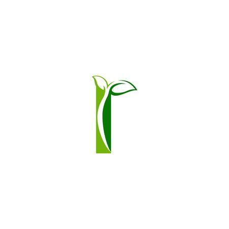 Combination of green leaf and initial letters I logo design vectors