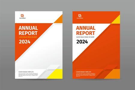 Portada de plantilla de revista de informe anual de tema de color naranja de forma de triángulo aleatorio simple