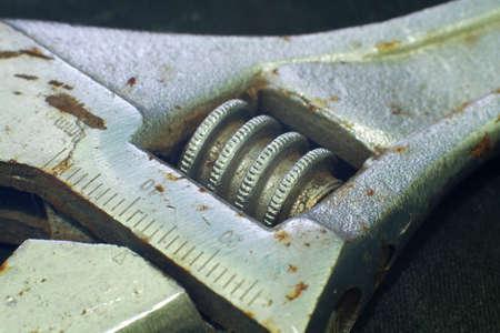 Macro of Rusty Adjustable Wrench