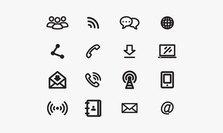 통신: 회색 배경 통신 아이콘 일러스트
