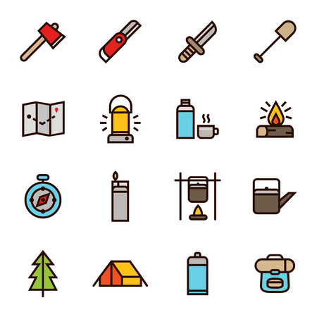 Camping And Adventure Icon In Flat Outline Style