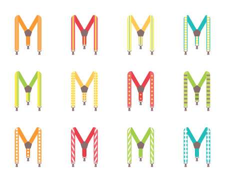 A set of mens suspenders. Suspenders vector illustration