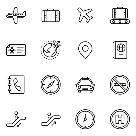 Airport icons set on white background, vector illustration.