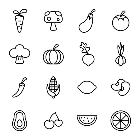 Fruit and Healthy food with elements for mobile concepts and web apps in black and white illustration. Stock Illustratie
