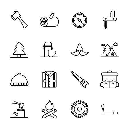 Lumberjack & woodcutter icon set. Logging line icons in squares, sawmill, logging truck, tree harvester, timber, lumberjack, etc. Ilustracja