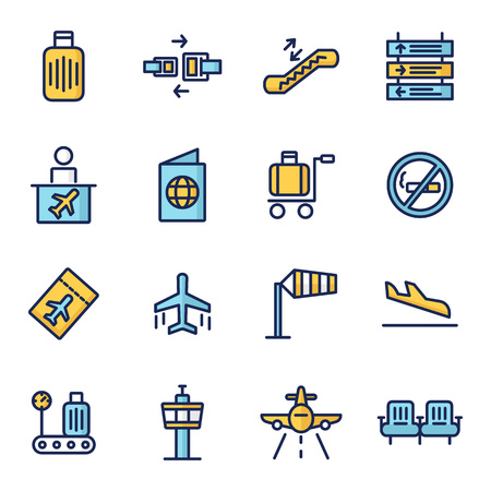 Airport vector icons. Contains icons such as plane, plane, taxi, passenger, suitcase icon, inspector, ticket, airplane, mobile checking, suitcase, baggage get
