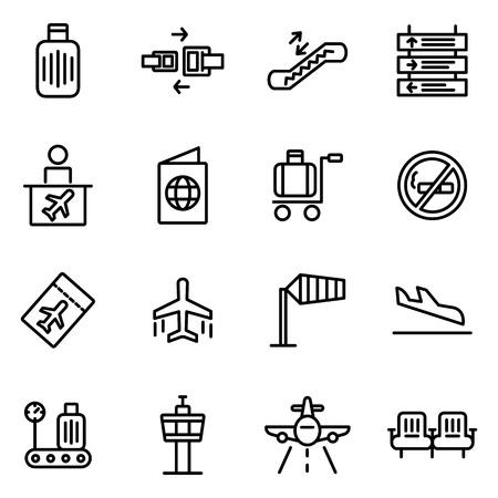 Icone vettoriali aeroporto. Contiene icone come aereo, aereo, taxi, passeggero, icona valigia, ispettore, biglietto, aereo, controllo mobile, valigia, consegna bagagli