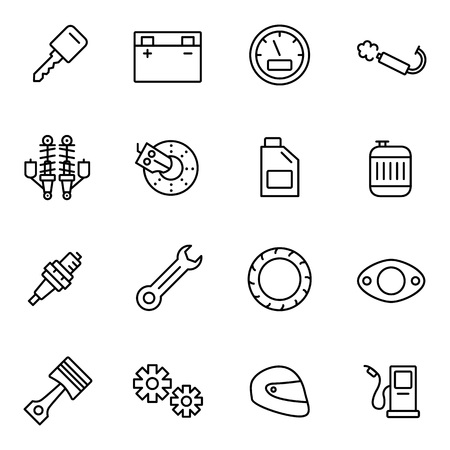 Motorcycle Parts Vector Icons. Details and attributes for riding a motorcycle. Vectores