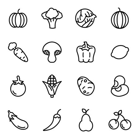 Fruit and vegetables icon set. Fruit and healthy food with elements for mobile concepts and web apps. Vectores