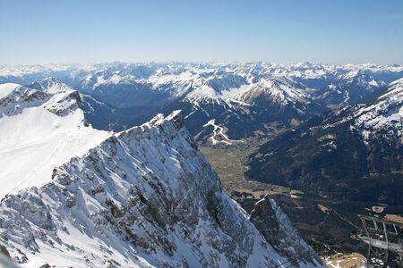 mountaintop: Zugspitze high mountains valley view