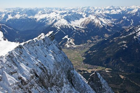 mountaintop: Zugspitze high mountains valley view, Germany