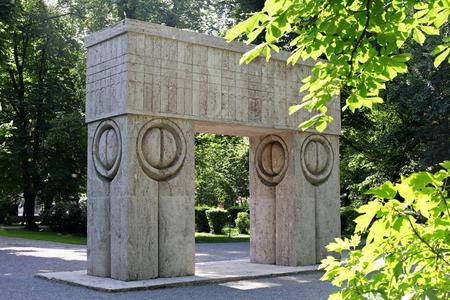 constantin: The Gate of Kiss of Constantin Brancusi, Targu Jiu, Romania Stock Photo