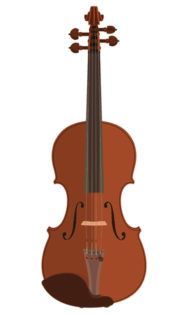 Flat style vector violin isolated on plain background.