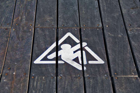 Wooden Slipping Sign photo