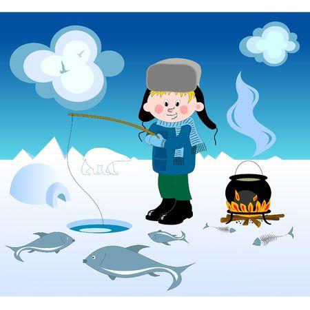 ice fishing: Chico haciendo pesca de invierno