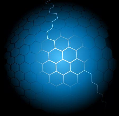 illuminating: Blue abstract hexagon background