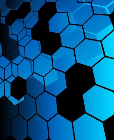 Blue abstract hexagon background Vector
