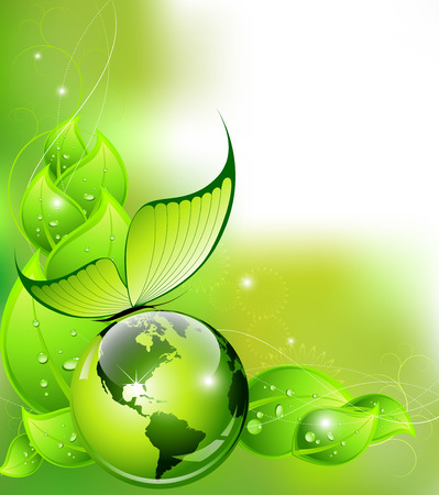 Think Green concept  environment and nature abstract composition - vector illustration Vector