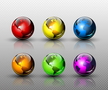 Set of six glossy colored Earth globes  Full editable vector illustration Vector