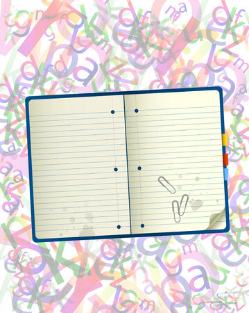 Notebook over rainbow letters background  Full editable vector illustration Vector