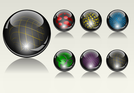 refracting: 6 different crystal refracting spheres  Stock Photo